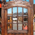Back of arched door with transom
