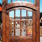 Front of arched door with transom