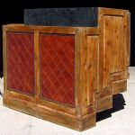 Leather accented bar cabinet