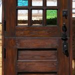 Custom Dutch door with mult-colored glass