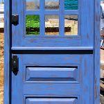 Custom Dutch door with multi-colored glass