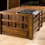 Kitchen island made with salvaged lumber