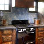 Natural wood kitchen cabinets