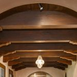Detail of heavy timber ceiling beams and corbels