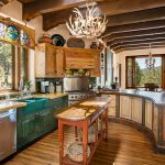Country kitchen with curved island cabinets