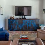 Blue living room cabinet